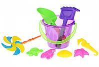 Same Toy Набор для игры с песком с Воздушной вертушкой (фиолетовое ведро) (9 шт.)
