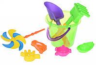 Same Toy Набор для игры с песком с Воздушной вертушкой (зеленое ведро) (8 шт.)