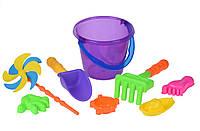 Same Toy Набор для игры с песком с Воздушной вертушкой (фиолетовое ведро) (8 шт.)