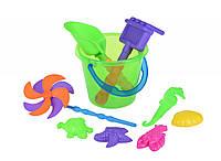 Same Toy Набор для игры с песком с Воздушной вертушкой (зеленое ведро) (9 шт.)