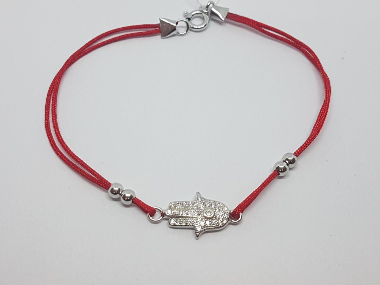 Браслет Хамса (Рука Фатимы) из текстиля с серебряными вставками и фианитами. Артикул 2231