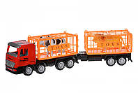 Same Toy Машинка инерционная Super Combination Грузовик (красный) для перевозки животных с прицепом