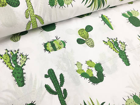 """🧵Польская хлопковая ткань """"кактусы на белом"""" от производителя"""
