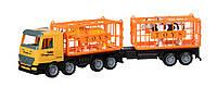 Same Toy Машинка инерционная Super Combination Грузовик (желтый) для перевозки животных с прицепом