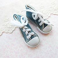Обувь для кукол, кеды на шнуровке джинс - 7*3 см