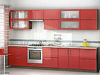 Кухня Прямая из ДСП Орех и Красного глянца , фото 1