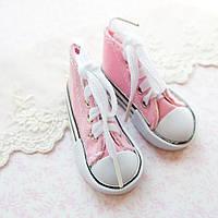 Обувь для кукол, кеды на шнуровке розовые - 7*3 см