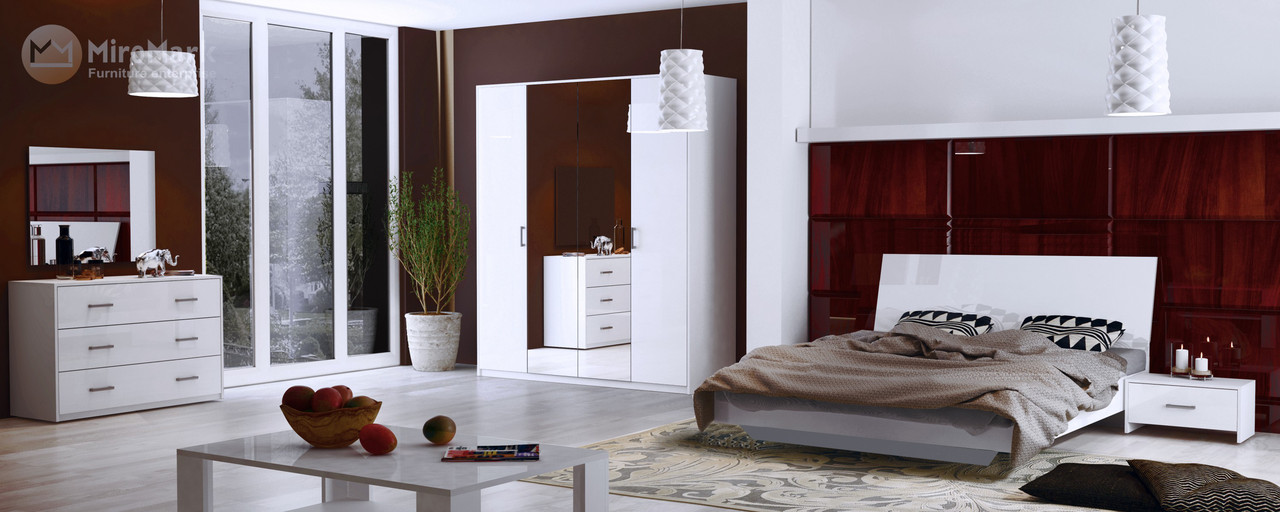 Кровать Roma 180*200 c каркасoм и подъемным механизмом  глянец белый ТМ Миро Марк, фото 2