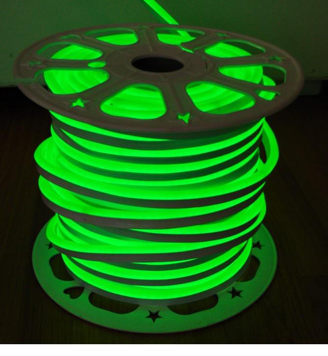 Гибкий Лед Неон 220V Зелёный IP67