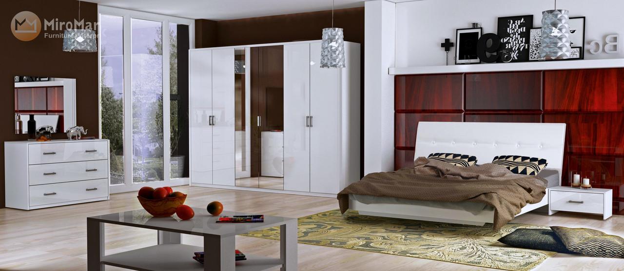 Кровать Roma 160*200 без каркаса с мягкой спинкой глянец белый ТМ Миро Марк, фото 2