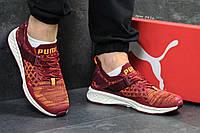 Кроссовки мужские в стиле Puma Ignite Evoknit код товара SD-5416. Бордовые  с оранжевым d2572496fa8