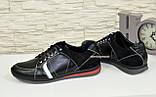 Кроссовки черные мужские на шнуровке, натуральная кожа и замша., фото 3