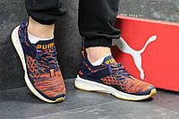 Кроссовки мужские в стиле Puma Ignite Evoknit код товара SD-5418. Темно-синие с оранжевым