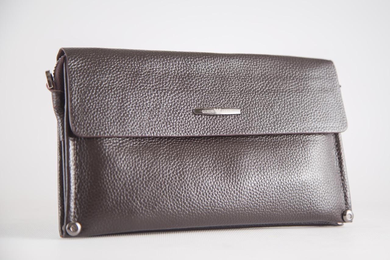 b0ab0736e3cf Мужской клатч кожаный мягкий коричневый Armani (копия ) 3410-3 - интернет- магазин