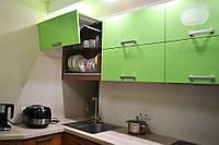 Кухня Original Зеленый глянец и Лен темный из пленочного МДФ, фото 1