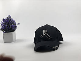 Кепка бейсболка Drake молитвенные руки с кольцами (черная)