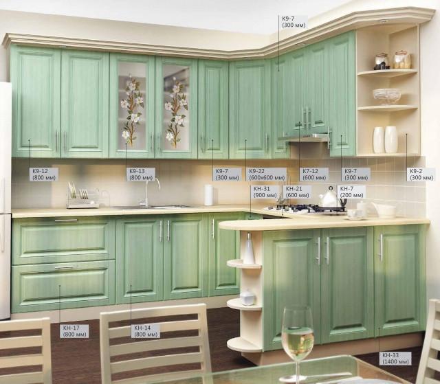Кухня модульная - МДФ ламинированный, Зеленый!