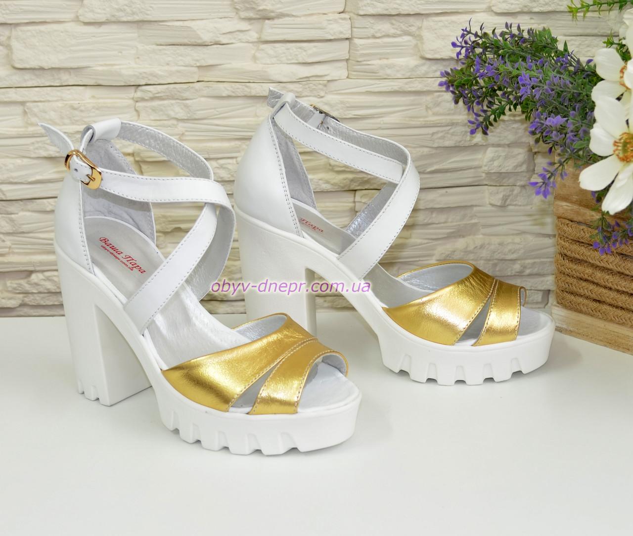40e410fa6fab Босоножки женские на высоком каблуке, из натуральной кожи белого и золотого  цвета, ...
