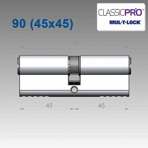 Цилиндр Mul-T-Lock Classic PRO 90 мм (45х45)