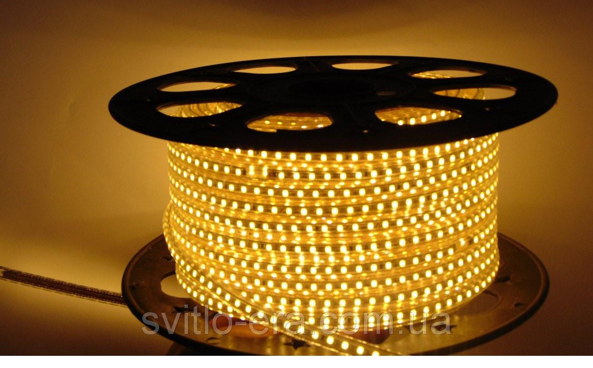 Светодиодная лента 220V SMD 3528 120 LED Тёпло-Белая IP67