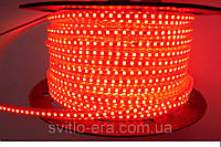 Светодиодная лента 220V SMD 3528 120 LED IP67 красная (СТАНДАРТ)