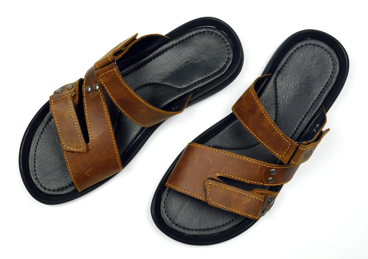 Коричневые мужские кожаные шлепанцы-сланцы CARDIO