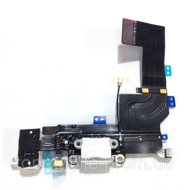 Шлейф iPhone 5S, с разъемом зарядки, с коннектором наушников, с микрофоном, белый