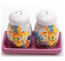 """Набор для специй """"Iris Flower"""" соль и перец на керамической подставке"""