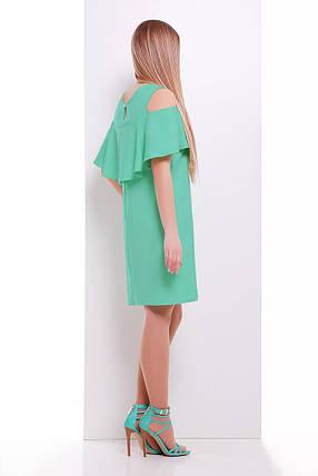 228d10d463a Летнее платье мини прямого кроя с воланом короткий рукав костюмка мятное