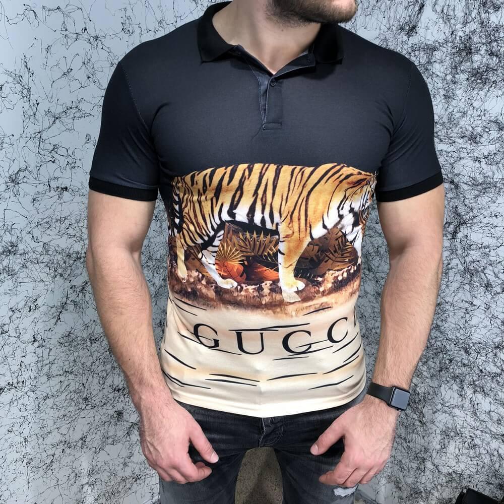 Футболка мужская Polo Gucci Tiger 18508 черная