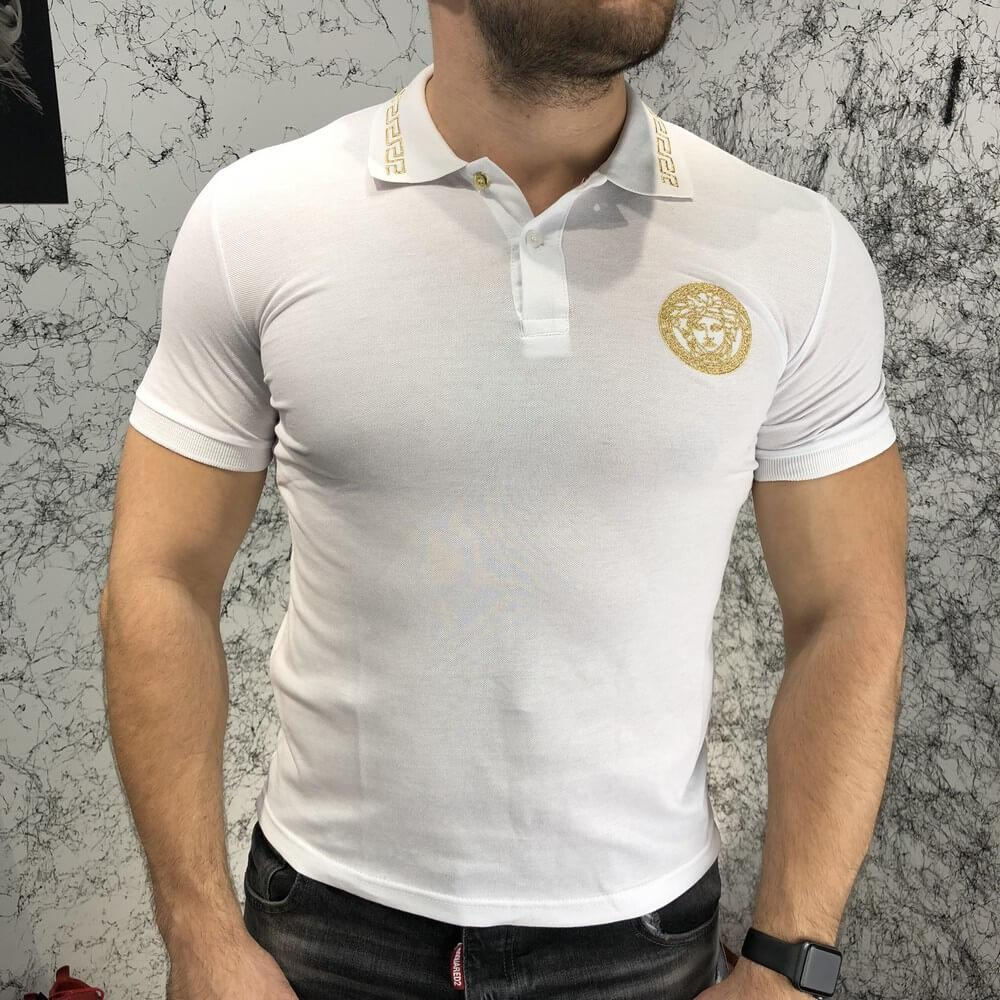 Футболка мужская Polo Versace Medusa 18521 белая