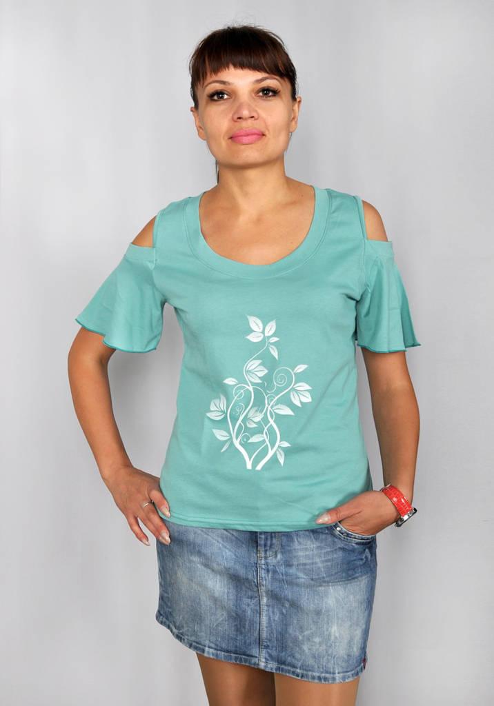 Женская футболка с открытым плечом