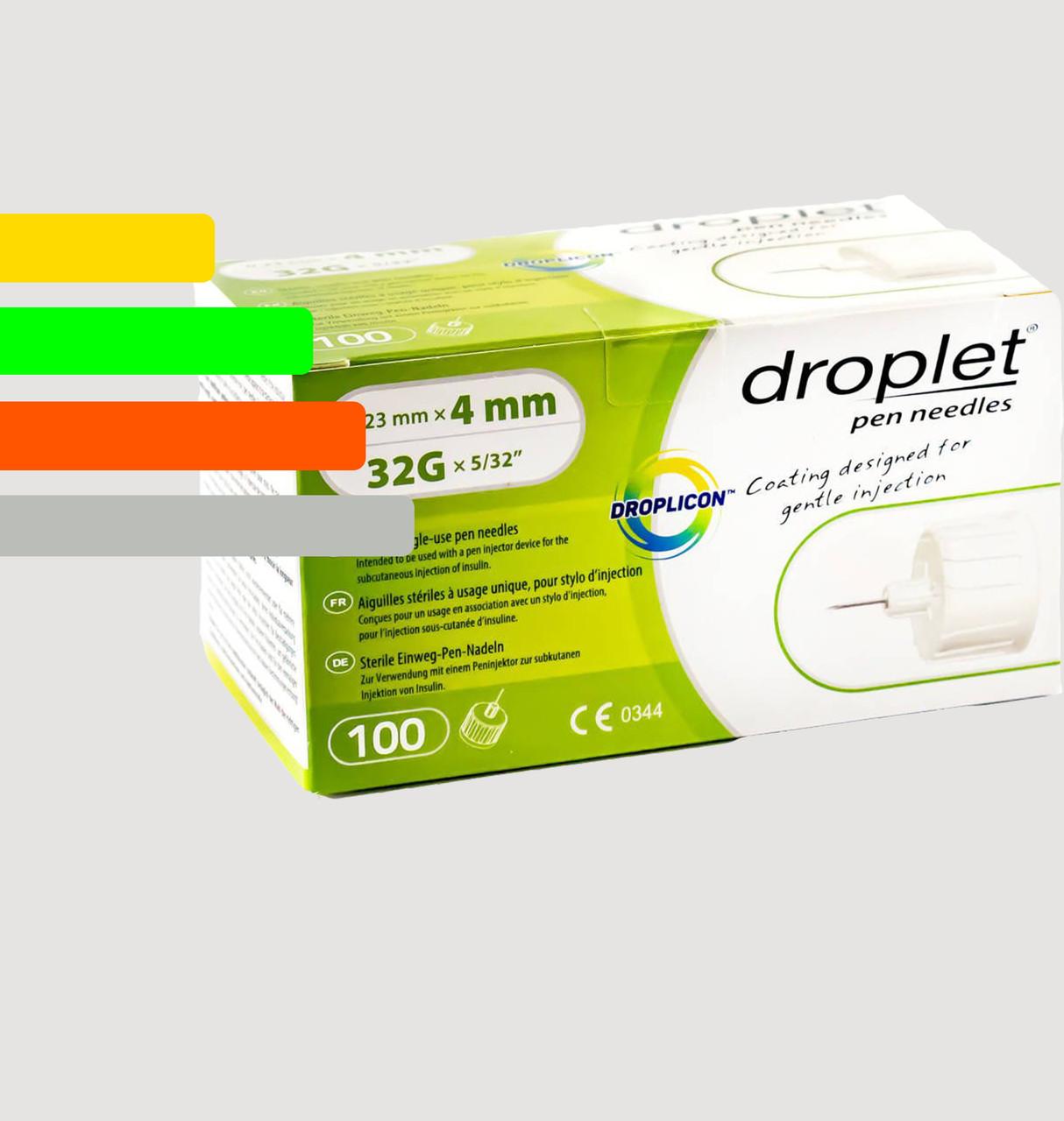 Иглы Droplet 4мм 32G для шприц-ручек инсулиновых