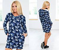 Платье-туника теплое из ангоры, с полным рукавом, с капюшоном и карманами, размеры 42,44 код 1031Т