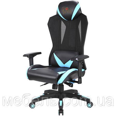 Кресло игровое геймерское Barsky Game Mesh Black/Blue BGM-01, фото 2
