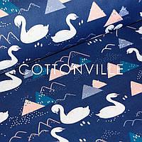 ✁ Отрезы хлопковой ткани Лебеди синий фон