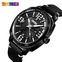 Стильные фирменные часы Skmei 1351 черные водонепроницаемый (5АТМ)