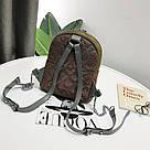 Рюкзак блестящий стеганый коричневый., фото 6