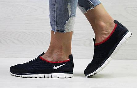 124c1993c5a374 Подростковые кроссовки летние Nike Free Run 3.0 сетка,темно -синие с  красным, фото