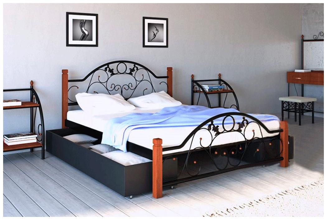 Кровать Франческа 160*200 деревянные ножки с двумя ящиками (Металл дизайн)
