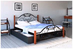 Кровать Франческа 160*200 деревянные ножки с двумя ящиками (Металл дизайн), фото 2