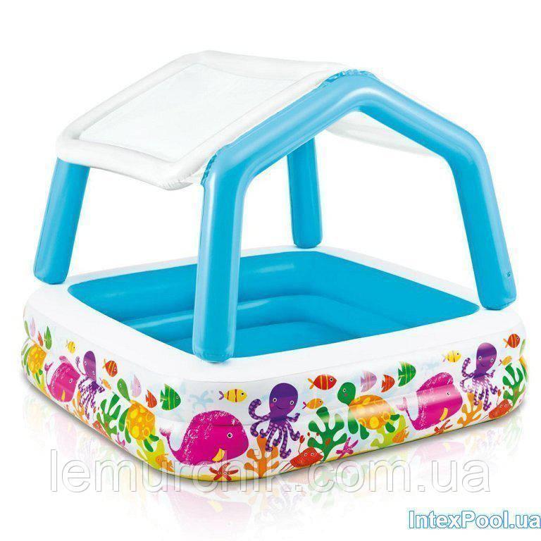 Детский надувной бассейн Intex 57470 «Аквариум» со съемным навесом, 157 х 157 х 122 см