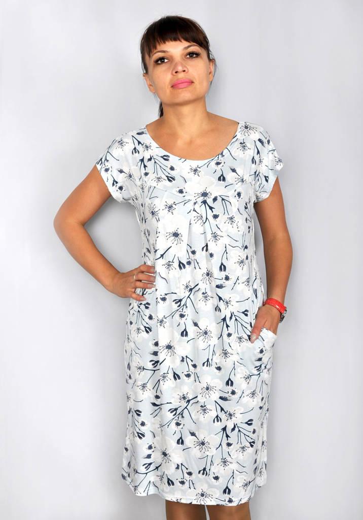 Женское платье с карманами горловина - лодочка
