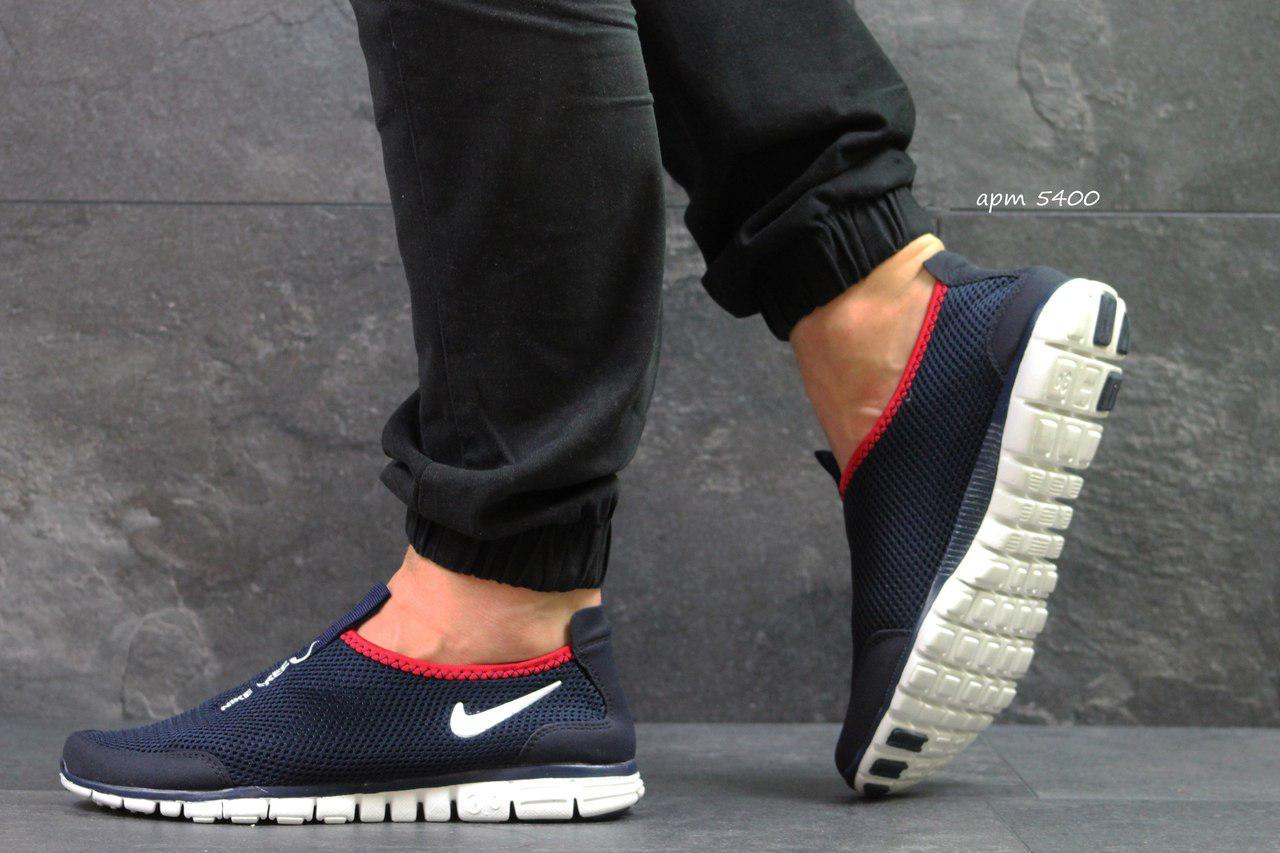 8c627650 Мужские летние кроссовки Nike Free Run 3.0,темно синие с белым -  Интернет-магазин