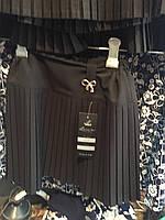 Юбка школьная чёрная с золотистым бантиком ОПТ