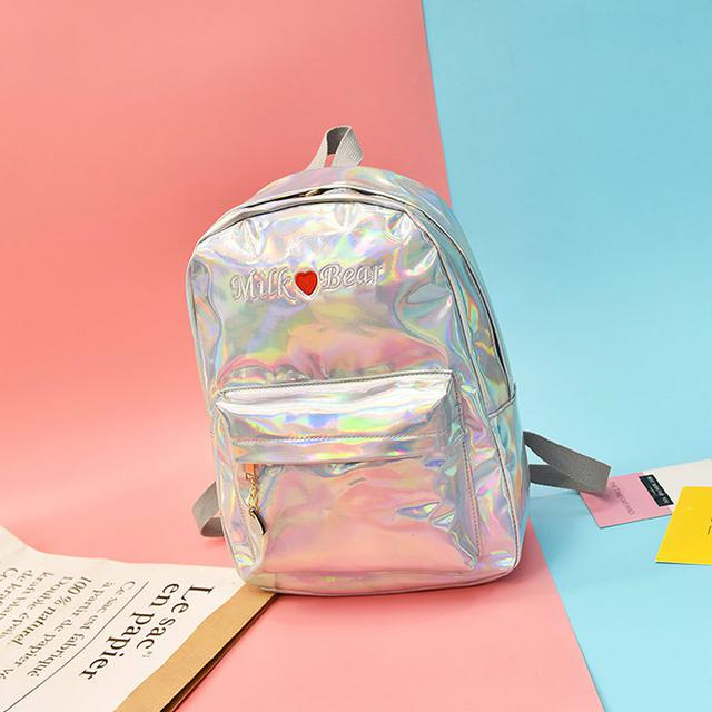 Голографический рюкзак Milk Bear серебро