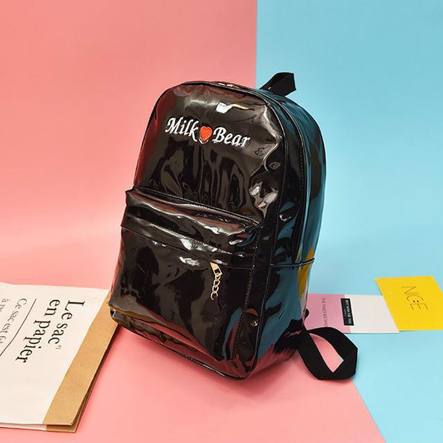 Голографический рюкзак Milk Bear черный