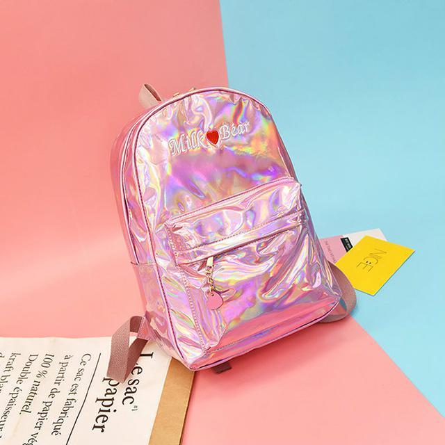 Голографический рюкзак Milk Bear розовый