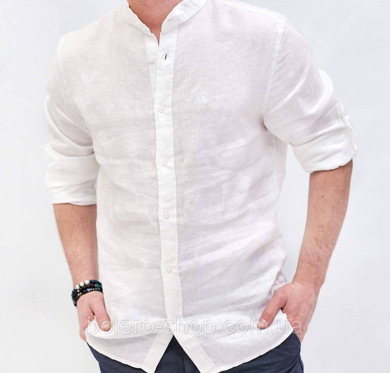 Рубашка мужская белая Лен  Brunello Cucinelli  3XL
