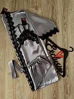 Атласный комплект шорты,халат и майка